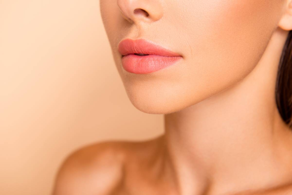 Up close face image of showing the aesthetics of the lips.