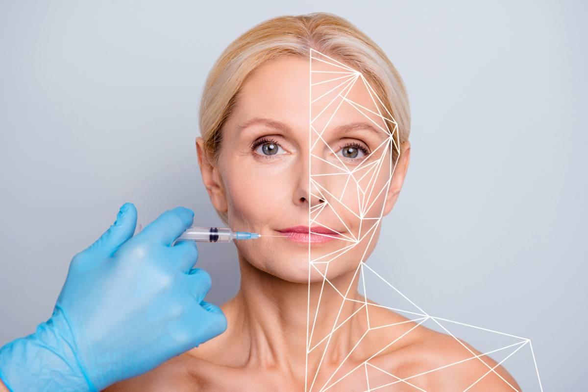 Concept photo showing facial rejuvenation for middle aged woman blonde.