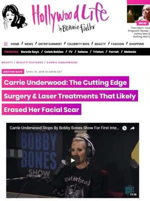 Dr. Zoumalan discusses to the press about Carrie Underwood and her recent facial scars.